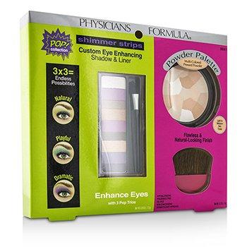 Physicians Formula Set Maquillaje 8661: 1x Shimmer Strips Eye Enhancing Color Ojos 1x Paleta Polvo, 1x Aplicador  3pcs