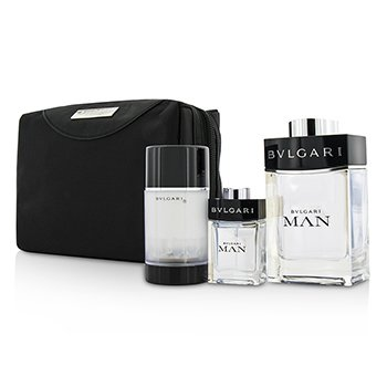 Bvlgari Man Coffret: Eau De Toilette Spray 100ml/3.4oz + Spray de Viaje 15ml/0.5oz + Desodorante en Barra 75ml/2.7oz  + Bolsa de Viaje  3pcs+pouch