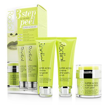 Rodial Super Acids Kit - 3 Step At Home Peel: Peel 50ml/1.7oz + Mask 75ml/2.5oz + Scrub 75ml/2.5oz  3pcs