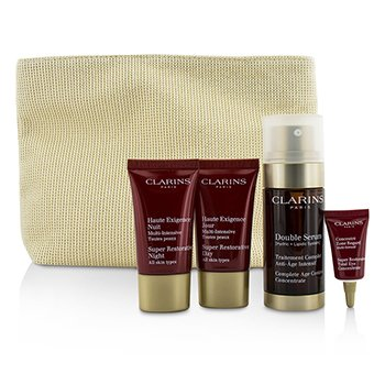 Clarins Skin-Replenishing Expert Set: Doble Suero 30ml + Super Restorative Crema Día 15ml + Crema Noche 15ml + Concentrado Ojos  3ml + Bolsa  4pcs+1bag