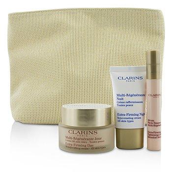 Clarins Super Skin Firmers Set: Extra-Firming Day Cream 50ml + Botanical Serum 10ml + Night Cream 15ml + Bag  3pcs+1bag