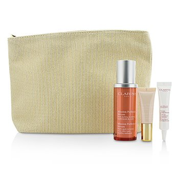 Clarins Skin-Perfecting Expert Set: Mission Perfecting Suero 30ml + UV Plus SPF 50 10ml + Instant Light Base #01 10ml + Bolsa  3pcs+1bag