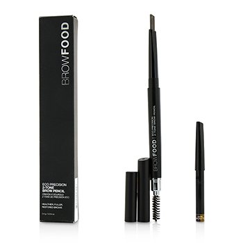LashFood BrowFood Eco Precision 2 Tone Brow Pencil With Extra Refill - #Dark Brunette  2x0.4g/0.014oz