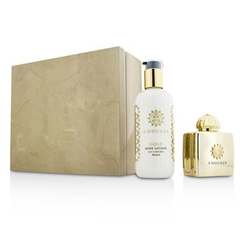 Amouage Gold Coffret: Eau De Parfum Spray 100ml/3.4oz + Loción Corporal 300ml/10oz  2pcs