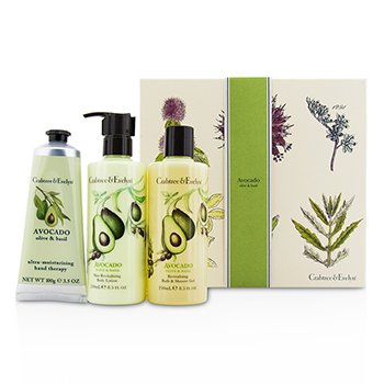 Crabtree & Evelyn Avocado, Olive & Basil Essentials Set: Bath & Shower Gel 250ml + Body Lotion 250ml + Hand Therapy 100g  3pcs