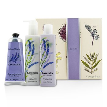 Crabtree & Evelyn Lavender Essentials Set: Bath & Shower Gel 250ml + Body Lotion 245ml + Ultra-Moisturising Hand Therapy 100g  3pcs