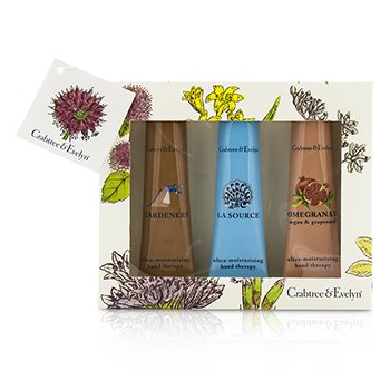 Crabtree & Evelyn Ultra-Moisturising Hand Therapy Set: Gardeners 50g + La Source 50g + Pomegranate, Argan & Grapeseed 50g  3pcs