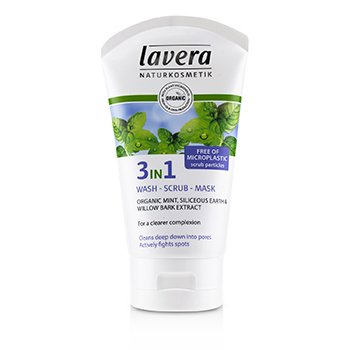 Lavera Limpiador, Exfoliante, Mascarilla 3 en 1 Menta Orgánica  125ml/4.1oz