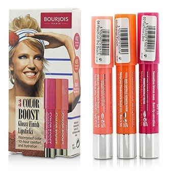 Bourjois 3 Color Boost Glossy Finish Lipsticks SPF 15 Set: 3x Lipstick - #02 Fuchsia Libre, #03 Orange Punch, #04 Peach on the Beach  3x2.75g/0.1oz
