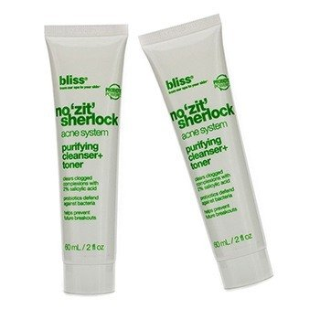 Bliss No 'Zit' Sherlock Purifying Cleanser + Toner Duo Pack  2x60ml/2oz