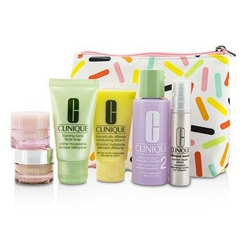 Clinique Travel Set: Sonic Facial Soap + Clarifying Lotion 2 + DDML + Smart Serum + Moisture Surge Intense + All About Eyes + Bag  6pcs + 1bag
