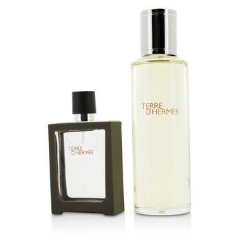 Hermes Terre D'Hermes Eau De Toilette Refillable Spray 30ml/1oz + Refill 125ml/4.2oz  2pcs