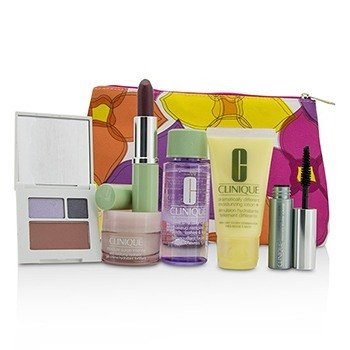 Clinique Travel Set: Make Up Remover+DDML+Moisture Surge Intense+Eye Shadow Duo & Blush+Mascara+Lipstick+Bag  6pcs+1bag