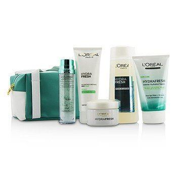L'Oreal Hydrafresh Spa Experience Set: Mask-In Lotion + Essence + Emulsion + Mask + Mild Foam +Pouch (Exp. Date: 07/2017)  5pcs+1bag