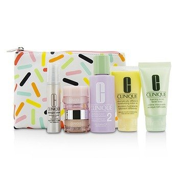 Clinique Set Travel: Sonic Facial Soap + Clarifying Lotion 2 + DDML + Smart Serum + Moisture Surge Intense +  6pcs + 1bag