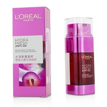 L'Oreal Hydra Fresh Anti-Ox Grape Seed Esencia Doble Mascarilla Hidratante  2x25ml/1.7oz