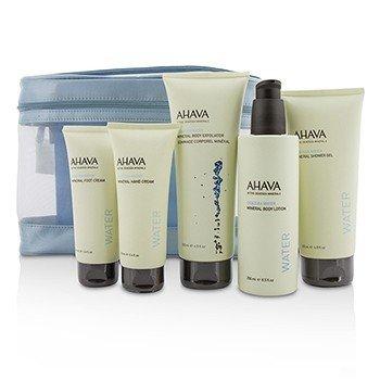 アハバ Deadsea Water Mineral Body Kit: Shower Gel + Body Exfoliator + Body Lotion + Hand Cream + Foot Cream + Blue Bag  5pcs+1bag