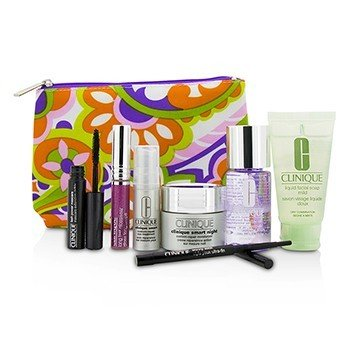 クリニーク Travel Set: Make Up Remover+Liquid Facial Soap+Cream+Eye Treatment+Skinny Stick+Mascara+Lip Gloss+Bag  7pcs+1bag