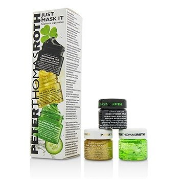 Peter Thomas Roth Kit Just Mask It: Irish Moor Mascarilla Negra de Barro Purificante 15ml + Mascarilla de 24k de Oro 15ml + Mascarilla en Gel de Pepino 15ml  3x15ml/0.5oz