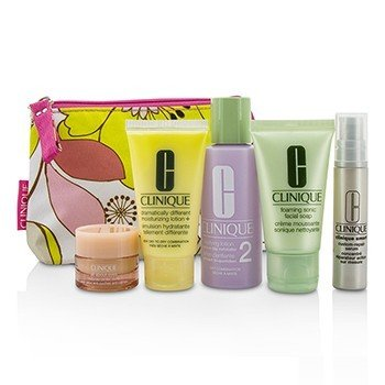 Clinique Travel Set: Facial Soap 30ml + Lotion 2 60ml + DDML 30ml + Serum 10ml + All About Eyes 7ml + Bag  5pcs+1bag