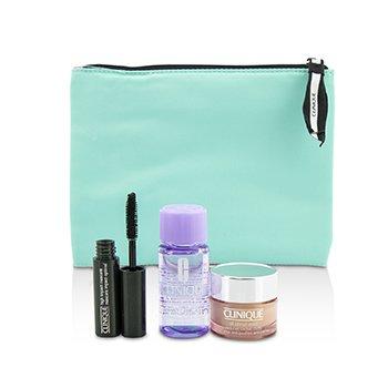 Clinique Set de Viaje: Todo Acerca de Ojos 15ml + Máscara 3.5ml + Removedor de Maquillaje de Ojos 30ml+1Bolsa  3pcs+1bag