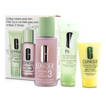 クリニーク 3-Step Skin Care System (Skin Type 3): Liquid Facial Soap Oily Skin Formula 50ml + Clarifying Lotion 3 100ml + DDMG 30ml  3pcs