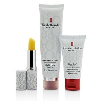 Elizabeth Arden Eight Hour Cream Nourishing Skin Essentials Set: Skin Protectant Fragrance Free+Hand Treatment+Lip (Box Slightly Dameaged)  3pcs