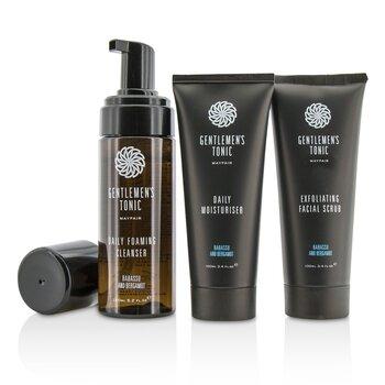 Gentlemen's Tonic Face Gift Set: Exfoliating Facial 100ml + Limpiador Espumoso Diario 150ml + Hidratante Diario 100ml  3pcs