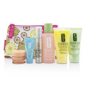 Clinique Set Travel: Facial Soap 30ml+Lotion 3 60ml+DDMG 30ml+Smart Serum 10ml+Turnaround Serum 7ml+All About Eyes 7ml+Tas  6pcs+1bag