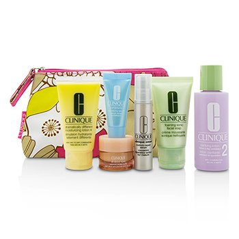 Clinique Zestaw podróżny Travel Set: Facial Soap 30ml+Lotion 2 60ml+DDML 30ml+Smart Serum 10ml+Turnaround Serum 7ml+All About Eyes 7ml+Bag  6pcs+1bag