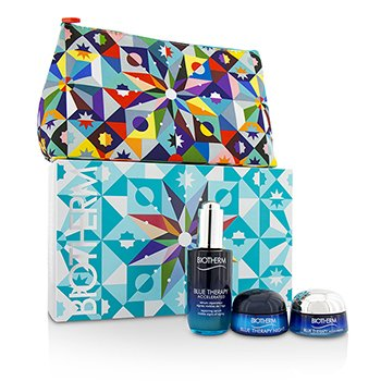 Biotherm Blue Therapy Serum Set:  Blue Therapy Accelerated Repairing Serum+ Blue Therapy Accelerated Repairing Anti-Aging Silky Cream+Blue Therapy Night Cream+Bag  3pcs+1bag