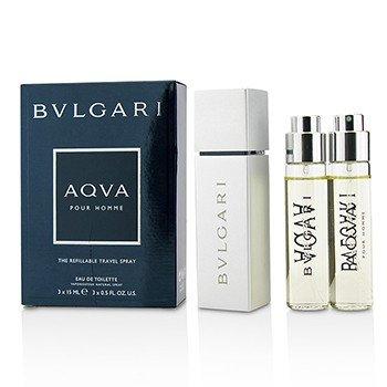 Bvlgari Aqva Pour Homme The Refillable Eau De Toilette Travel Spray  3x15ml/0.5oz