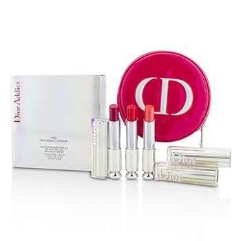 Christian Dior Dior Addict Hydra Gel Core Mirror Shine Lipstick Trio Set  3pcs+1case