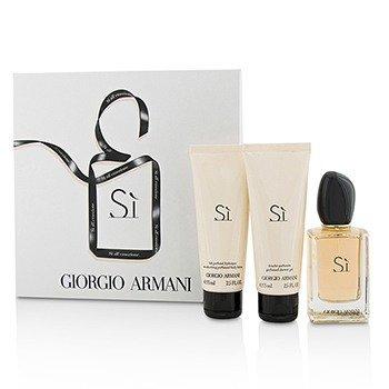 Giorgio Armani Si Coffret: Eau De Parfum Spray 50ml/1.7oz + Loción Corporal 75ml/2.5oz + Gel de Ducha 75ml/2.5oz  3pcs