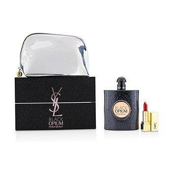 Yves Saint Laurent Black Opium Coffret: Eau De Parfum Spray 90ml/3oz + Mini Pintalabios + Bolsa  2pcs+pouch