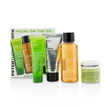 Peter Thomas Roth Facial On The Go Kit: Cucumber De-Tox Bouncy Hydrating Gel 15ml + Cucumber Gel Masque 14ml + Anti Aging Cleansing Gel 30ml + FirmX Peeling Gel 15ml  4pcs