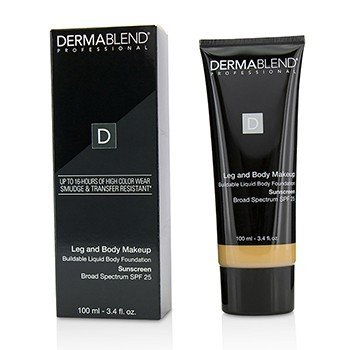Dermablend Leg and Body Make Up Buildable Liquid Body Foundation Sunscreen Broad Spectrum SPF 25 - #Medium Natural 40N  100ml/3.4oz