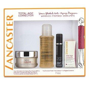 Lancaster Total Age Correction Set: Anti-Aging Day Cream 50ml+ Serum Youth Renewal 10ml+ Retinol-In-Oil 3ml+ Express Cleanser 100ml  4pcs