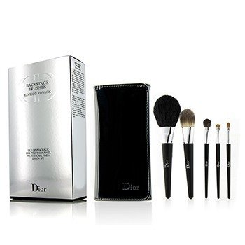 Christian Dior Backstage Brushes Professional Finish Travel Brush Set Edition Voyage (Powder, Fluid Foundation, Eyeshadow, Eyeliner, Lip)  5pcs+1bag