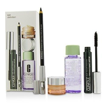 Clinique Eye Definition Set: 1x Kohl Shaper For Eyes + 1x High Impact Mascara + 1x Makeup Remover + 1x All About Eyes  4pcs