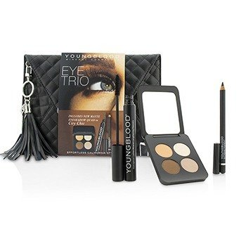 ヤングブラッド Eye Trio Clutch Set (1x Eyeshadow Quad, 1x Eye Liner Pencil, 1x Mascara)  3pcs+1bag