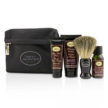 The Art Of Shaving Starter Kit - Sandalwood: Pre Shave Oil + Shaving Cream + After Shave Balm + Brush + Bag  4pcs + 1Bag