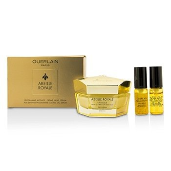 Guerlain Abeille Royale Day Cream Set: Day Cream  50ml/1.6oz + Daily Repair Serum 5ml/0.16oz + Abeille Royale Face Treatment Oil 5ml  3pcs