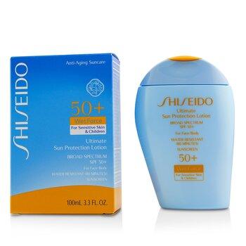 Shiseido Ultimate Sun Protection Loción WetForce Para Rostro & Cuerpo SPF 50+ - Para Piel Sensible & Niños  100ml/3.3oz