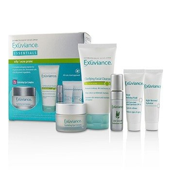 Exuviance Essentials Kit (Oily/ Acne Prone): Facial Cleanser + Eye Complex + Sheer Refining Fluid + HydraGel + Antioxiant Serum  5pcs