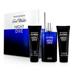 Davidoff Cool Water Night Dive Coffret: Eau De Toilette Spray 125ml/4.2oz + After Shave Balm 75ml/2.5oz + Shower Gel 75ml/2.5oz  3pcs