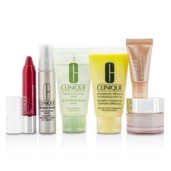Clinique Travel Set: Facial Soap 30ml + DDML+ 30ml + Moisture Surge Intense 15ml + Smart Serum 10ml +serum za kožu oko očiju 5ml + Chubby Stick #05  6pcs