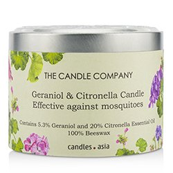 The Candle Company Tin Can 100% Beeswax Candle with Wooden Wick - Geraniol & Citronella  (8x5) cm
