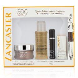 Lancaster 365 Skin Repair Set: Youth Renewal Day Cream 50ml+ Serum Youth Renewal 10ml+ Eye Serum 3ml+ Express Cleanser 100ml  4pcs