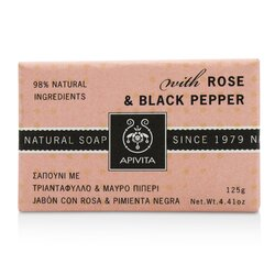 Apivita Natural Soap With Rose & Black Pepper  125g/4.41oz